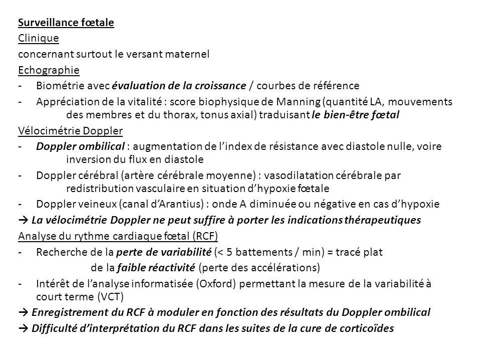 Surveillance fœtale Clinique. concernant surtout le versant maternel. Echographie.