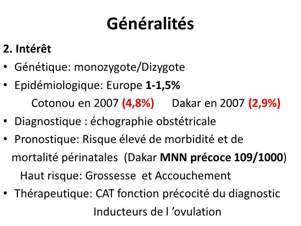 Généralités 2. Intérêt Génétique: monozygote/Dizygote