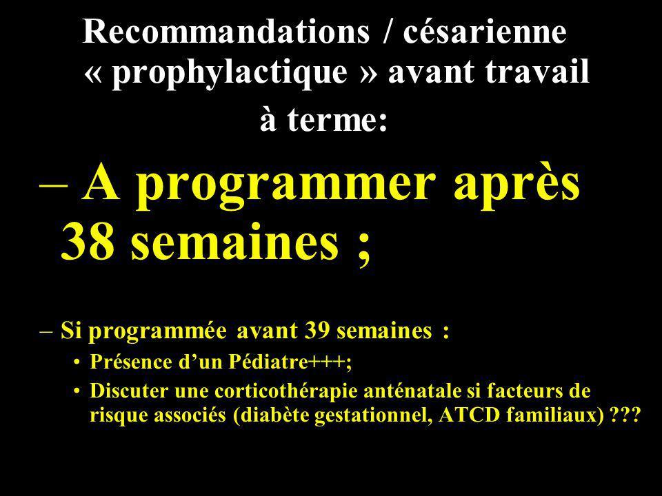 Recommandations / césarienne « prophylactique » avant travail