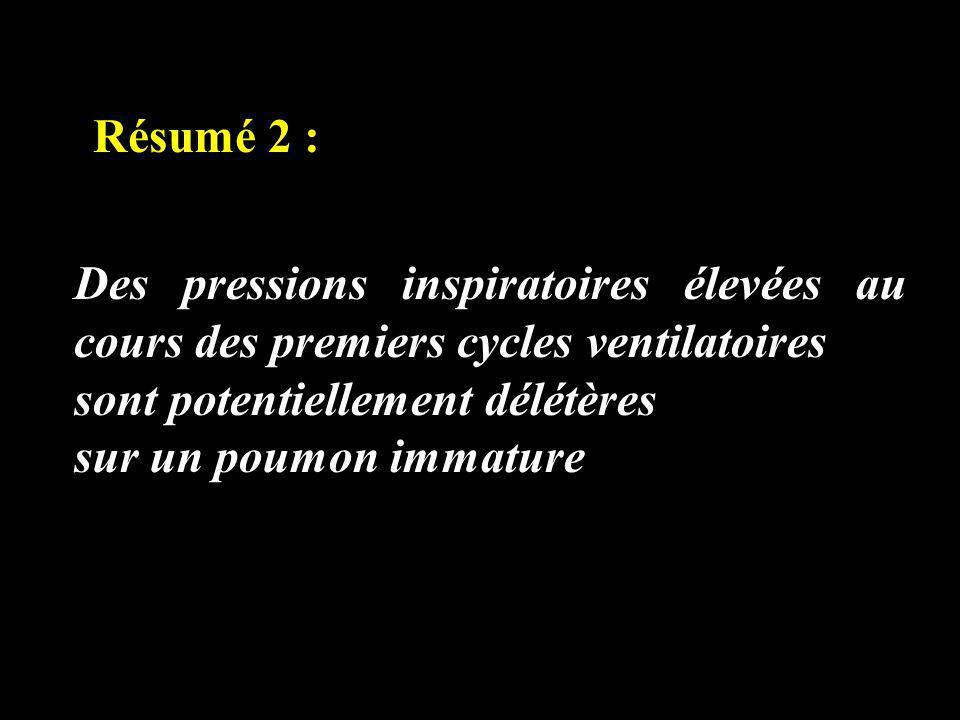 Résumé 2 : Des pressions inspiratoires élevées au cours des premiers cycles ventilatoires. sont potentiellement délétères.