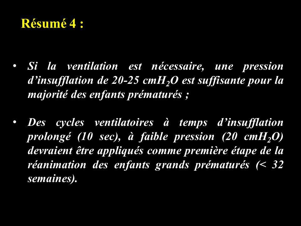 Résumé 4 : Si la ventilation est nécessaire, une pression d'insufflation de 20-25 cmH2O est suffisante pour la majorité des enfants prématurés ;