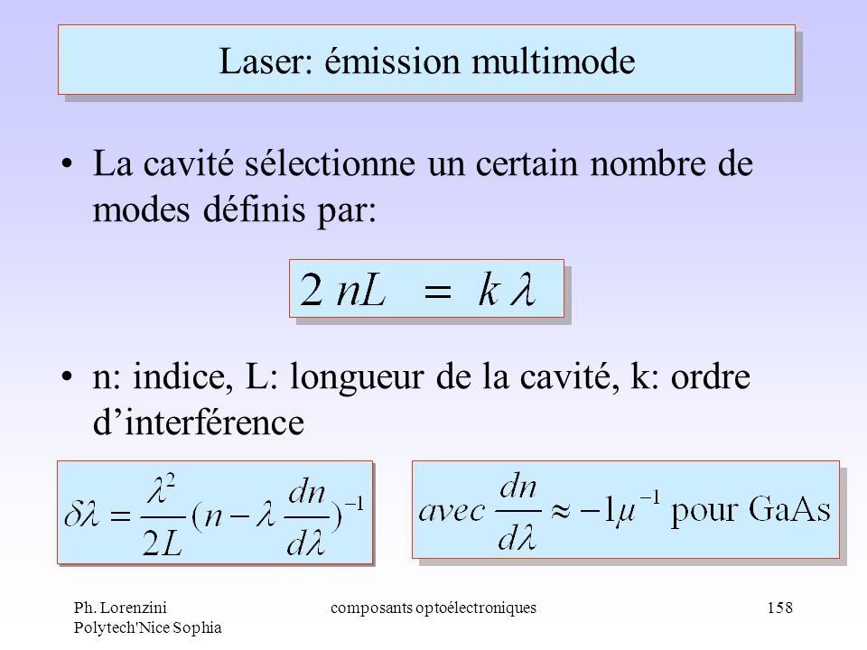 Laser: émission multimode