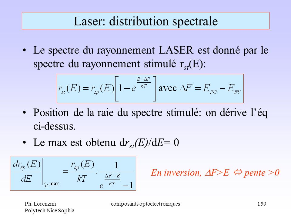 Laser: distribution spectrale
