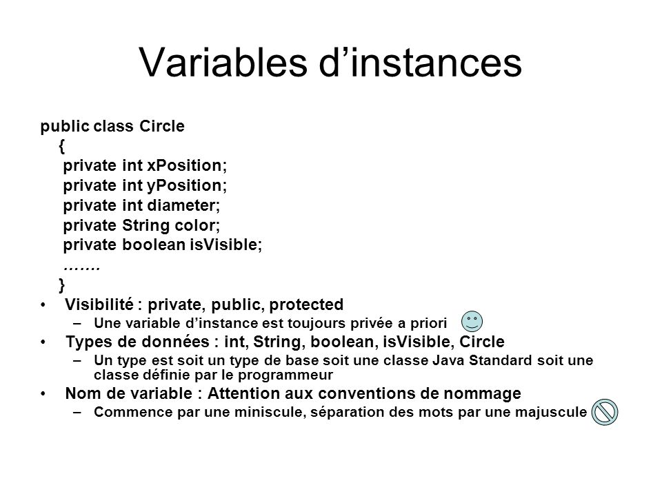 Variables d'instances