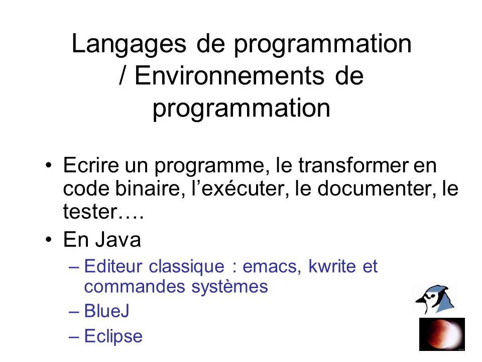 Langages de programmation / Environnements de programmation