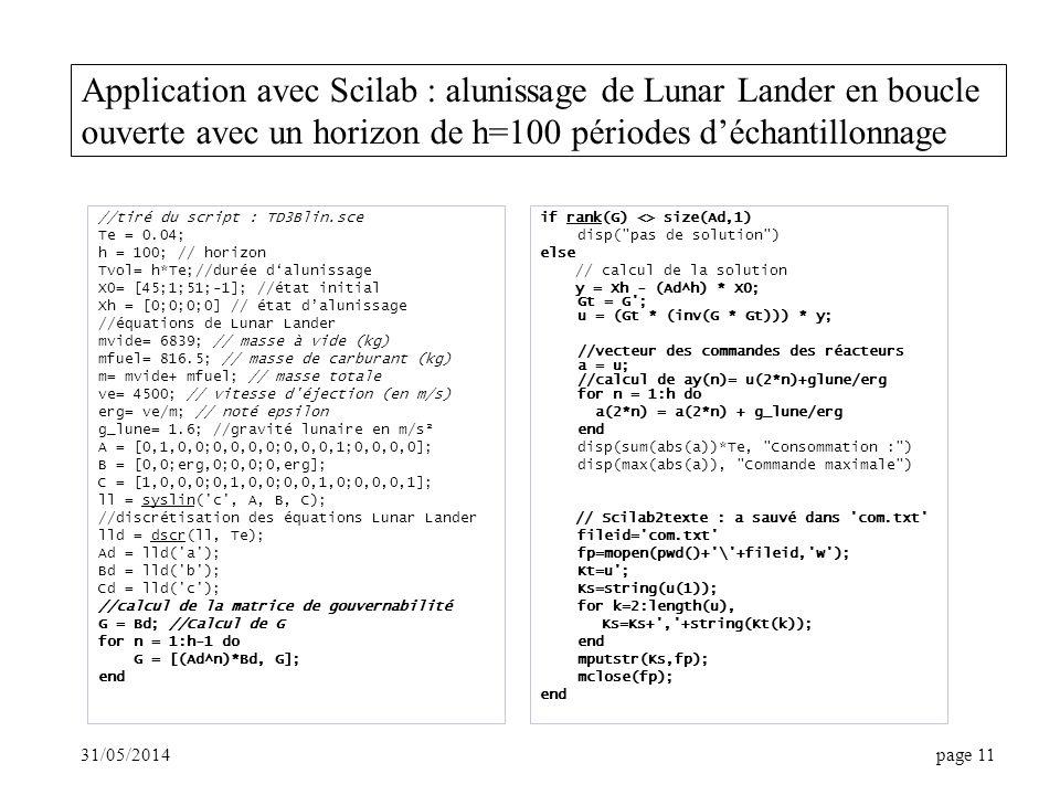 Application avec Scilab : alunissage de Lunar Lander en boucle ouverte avec un horizon de h=100 périodes d'échantillonnage