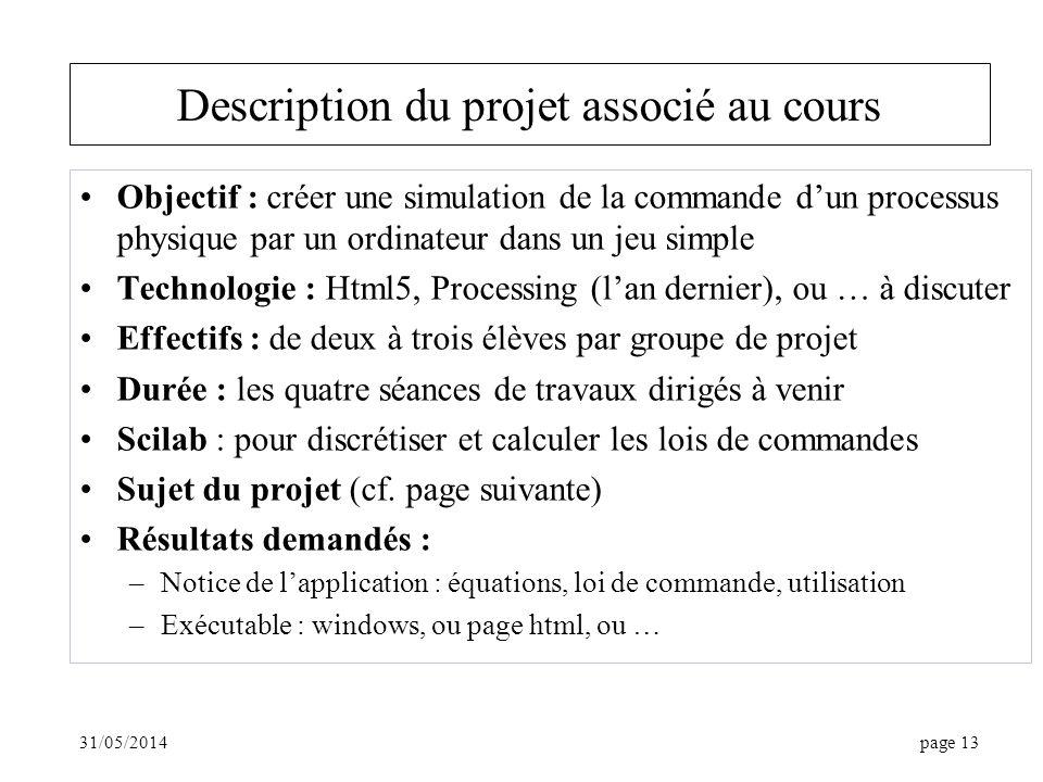 Description du projet associé au cours