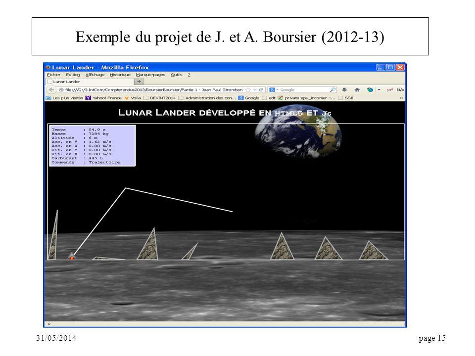 Exemple du projet de J. et A. Boursier (2012-13)