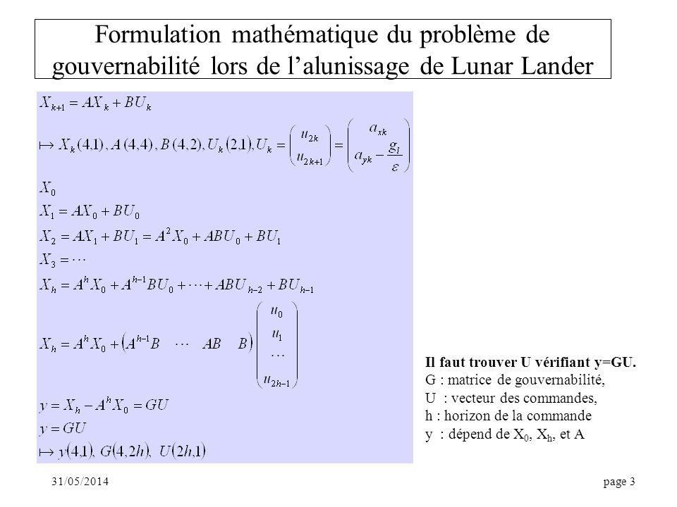 Formulation mathématique du problème de gouvernabilité lors de l'alunissage de Lunar Lander