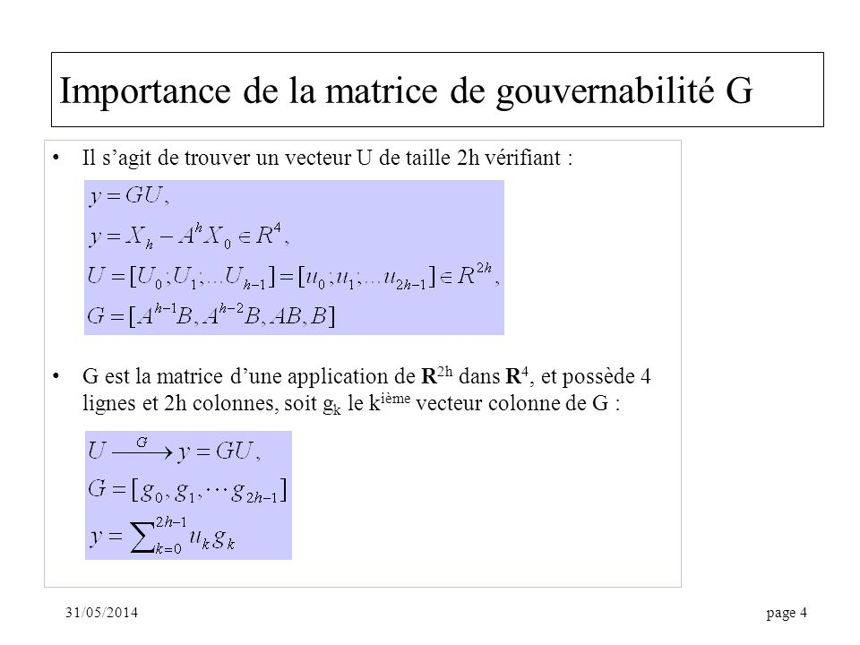 Importance de la matrice de gouvernabilité G