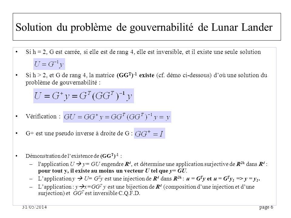 Solution du problème de gouvernabilité de Lunar Lander