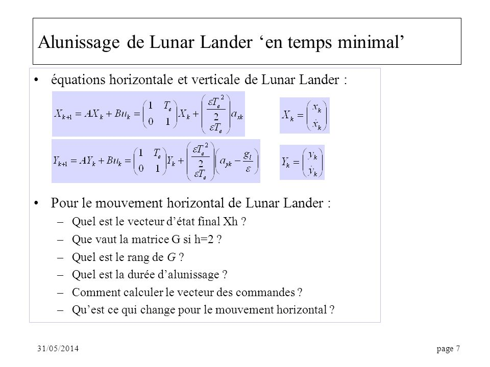 Alunissage de Lunar Lander 'en temps minimal'