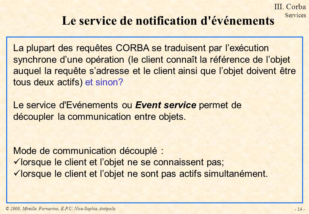 Le service de notification d événements