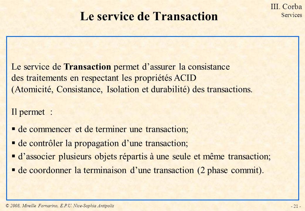 Le service de Transaction