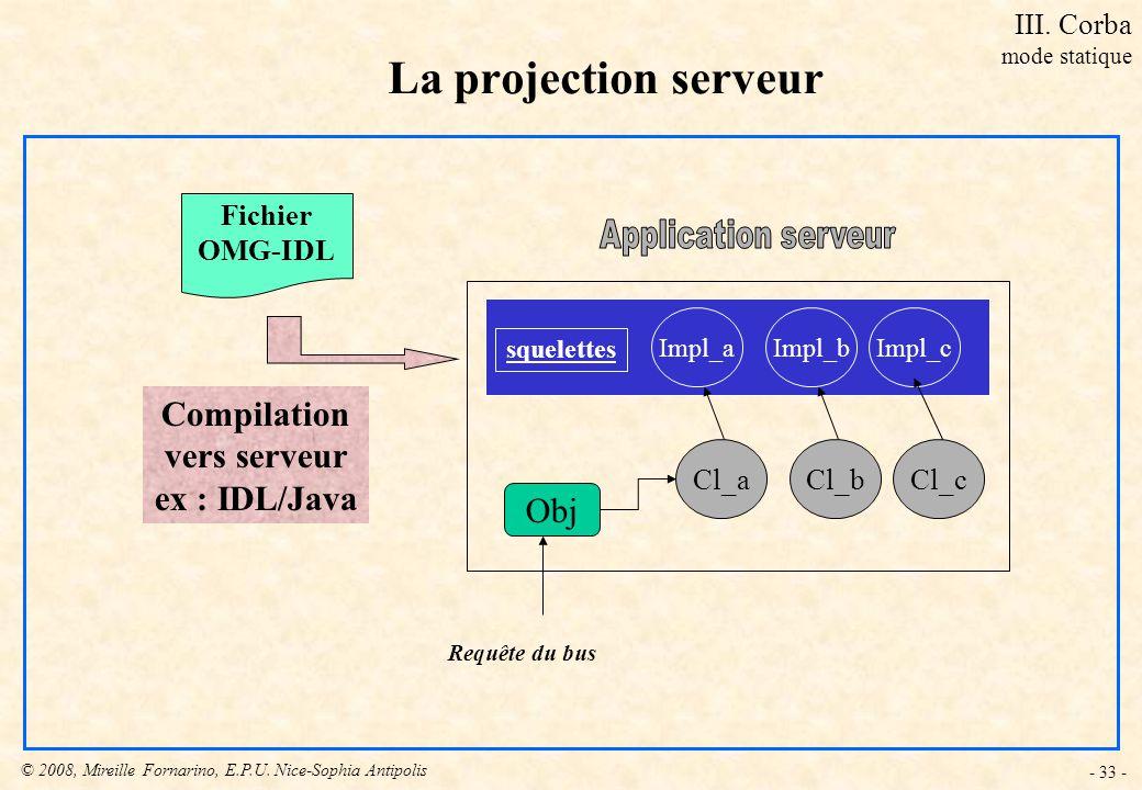 La projection serveur Compilation vers serveur ex : IDL/Java Obj