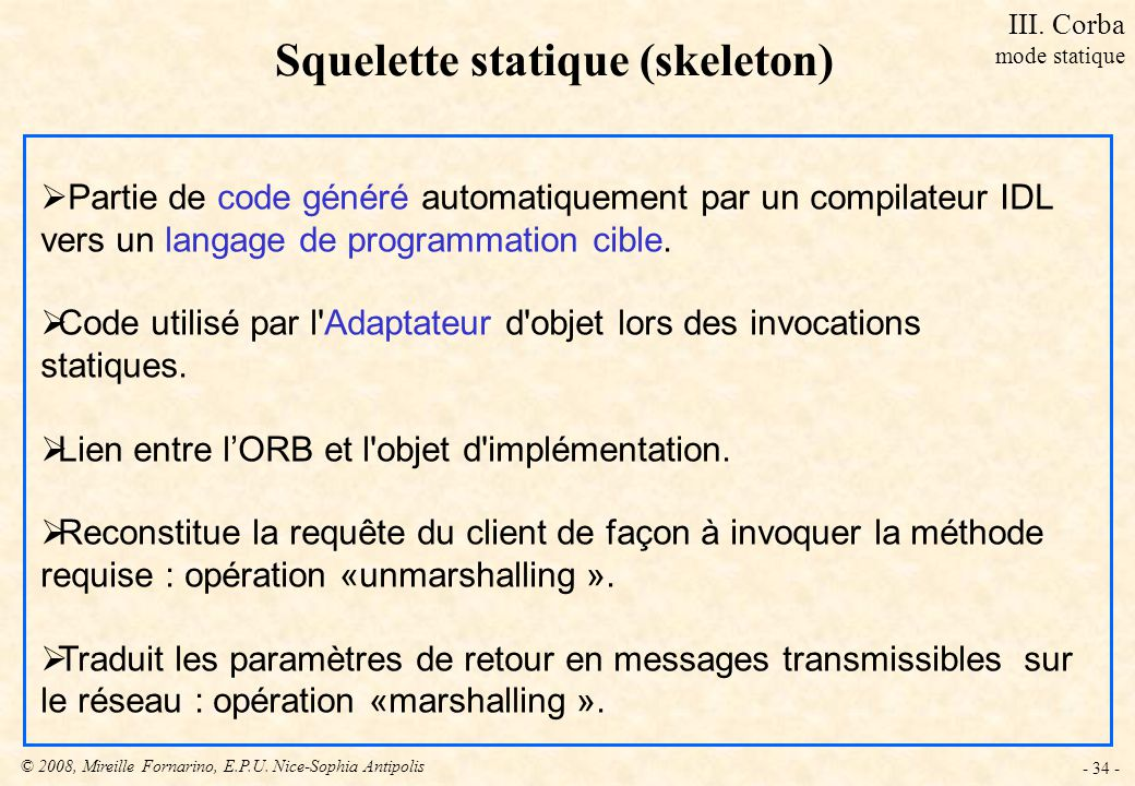 Squelette statique (skeleton)