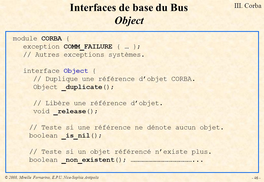 Interfaces de base du Bus Object