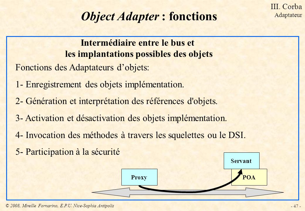 Object Adapter : fonctions