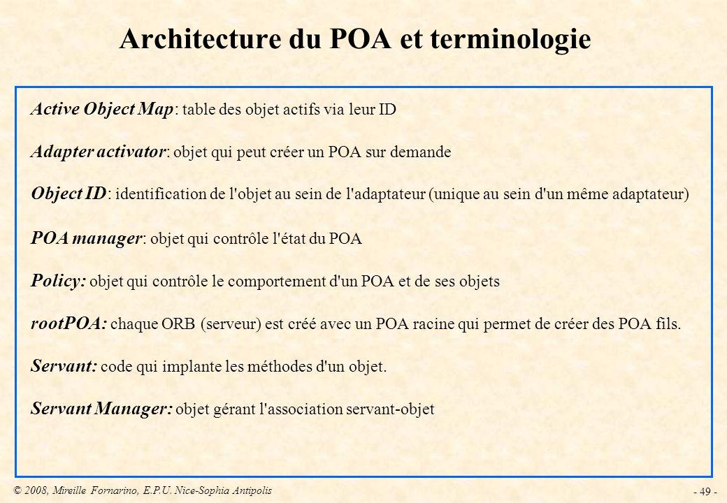 Architecture du POA et terminologie