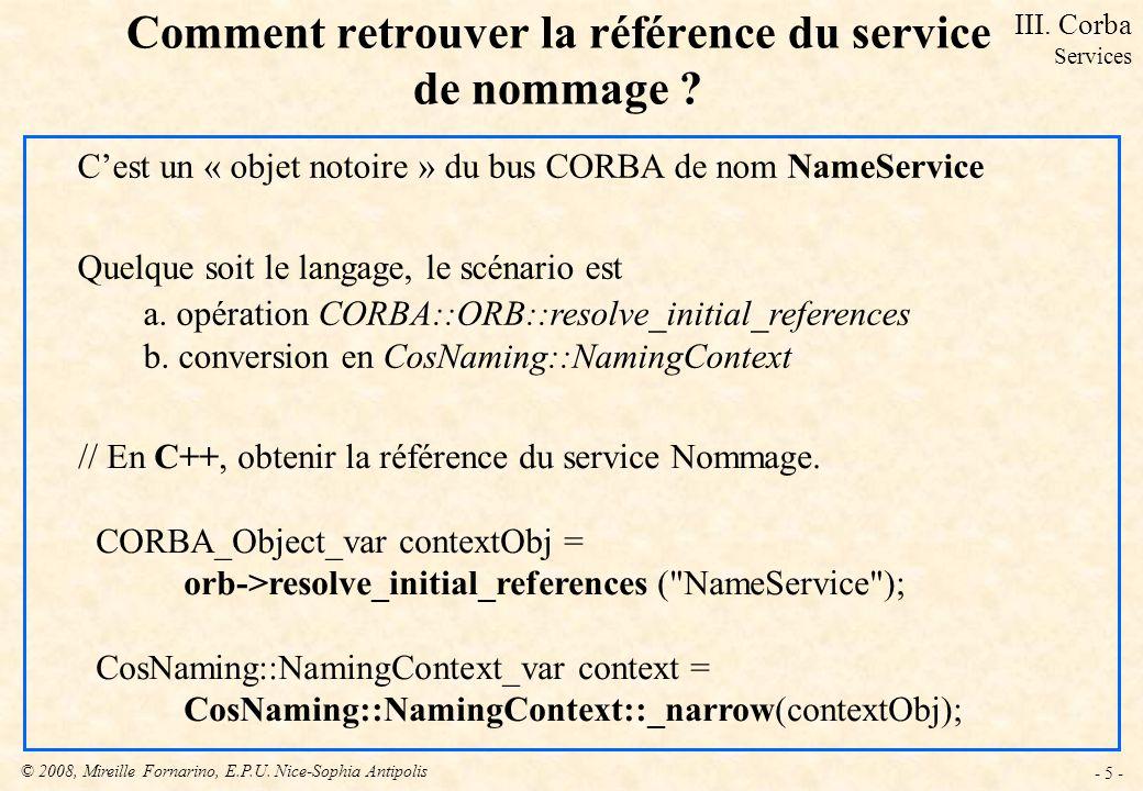 Comment retrouver la référence du service de nommage