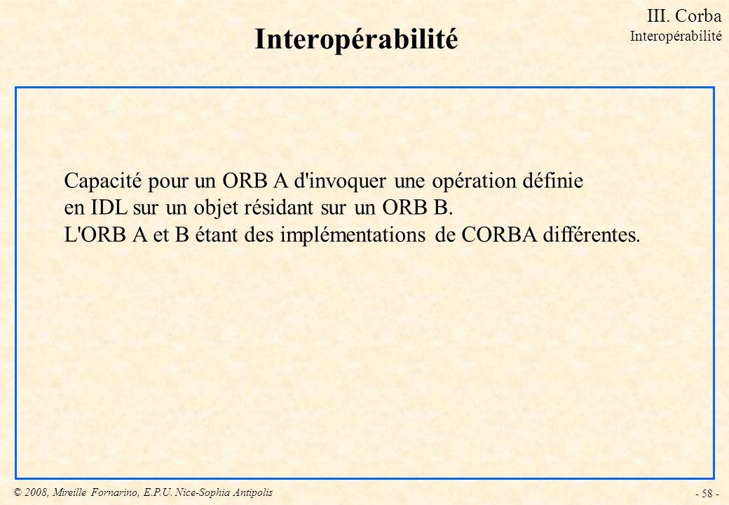 III. Corba Interopérabilité. Interopérabilité. Capacité pour un ORB A d invoquer une opération définie.