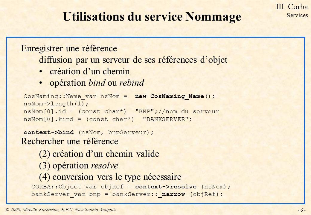 Utilisations du service Nommage