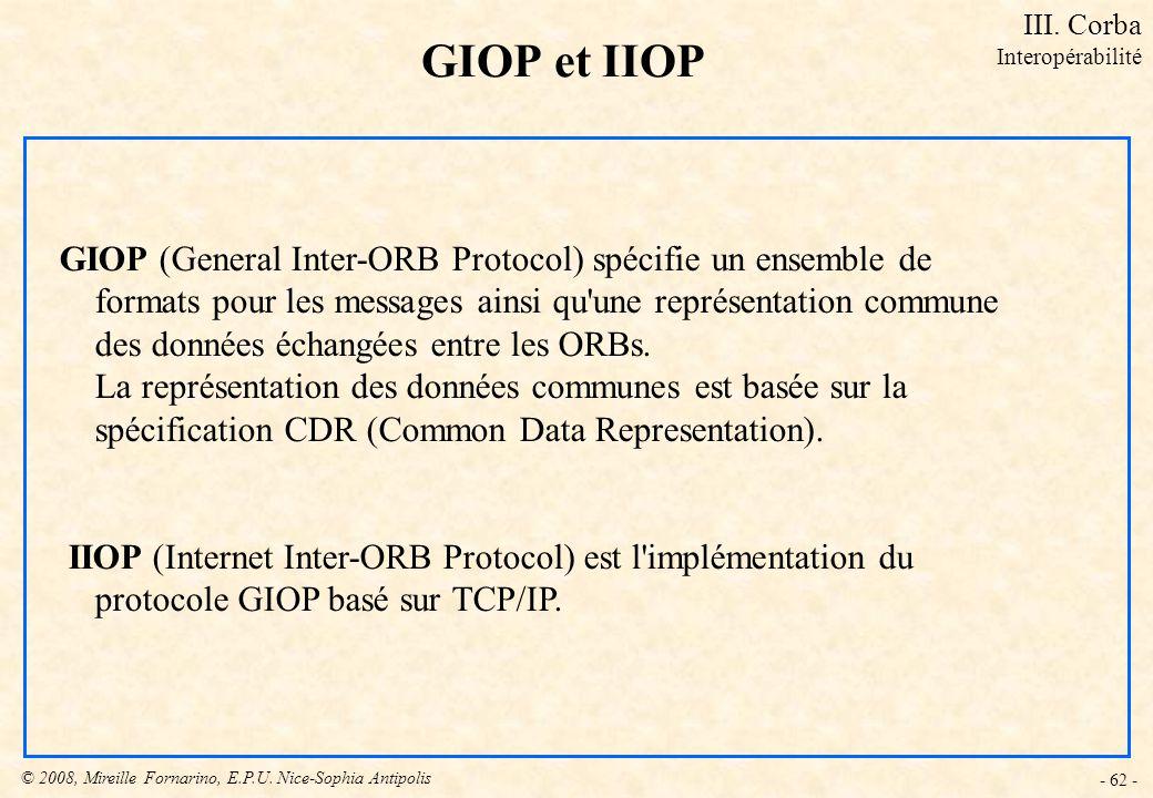 GIOP et IIOP GIOP (General Inter-ORB Protocol) spécifie un ensemble de