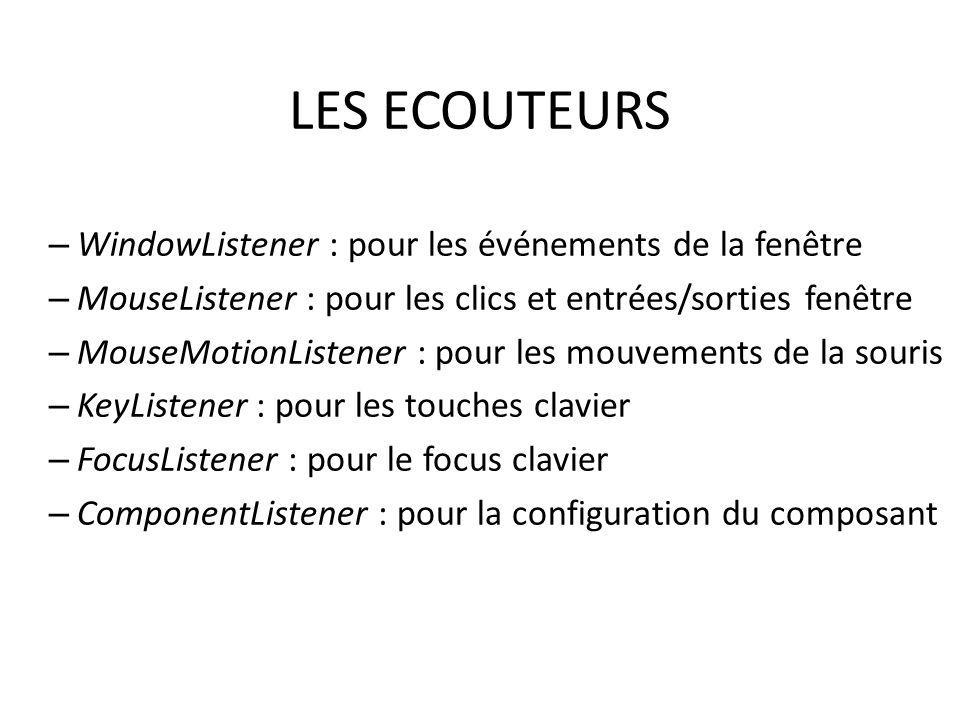 LES ECOUTEURS WindowListener : pour les événements de la fenêtre