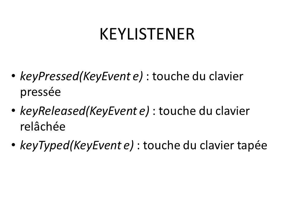 KEYLISTENER keyPressed(KeyEvent e) : touche du clavier pressée