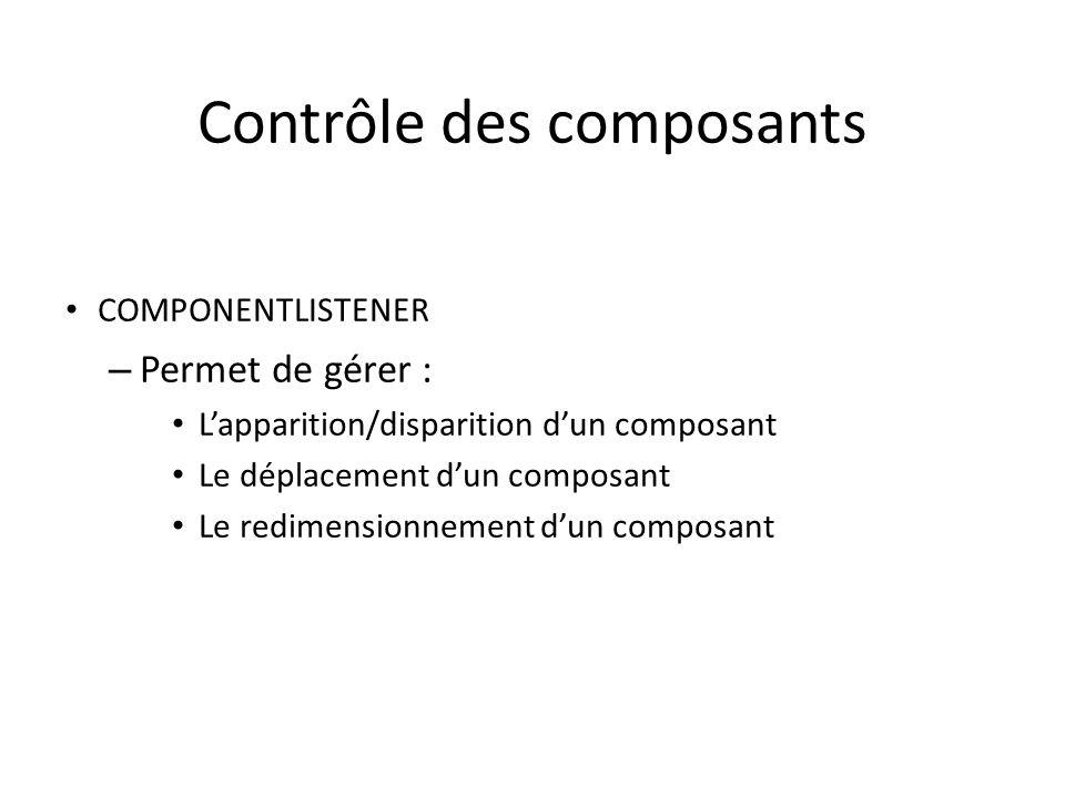 Contrôle des composants