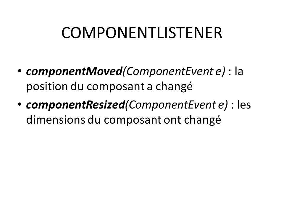 COMPONENTLISTENER componentMoved(ComponentEvent e) : la position du composant a changé.
