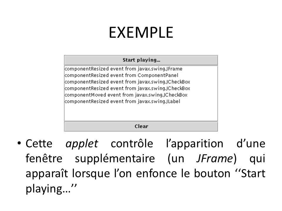 EXEMPLE Cette applet contrôle l'apparition d'une fenêtre supplémentaire (un JFrame) qui apparaît lorsque l'on enfonce le bouton ''Start playing…''