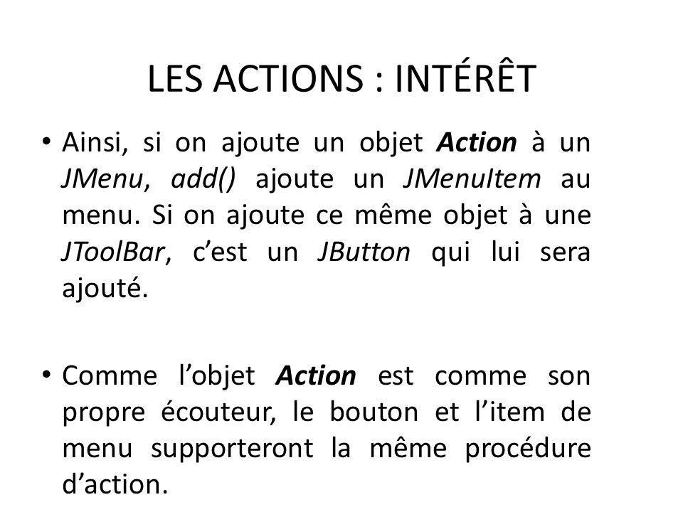 LES ACTIONS : INTÉRÊT