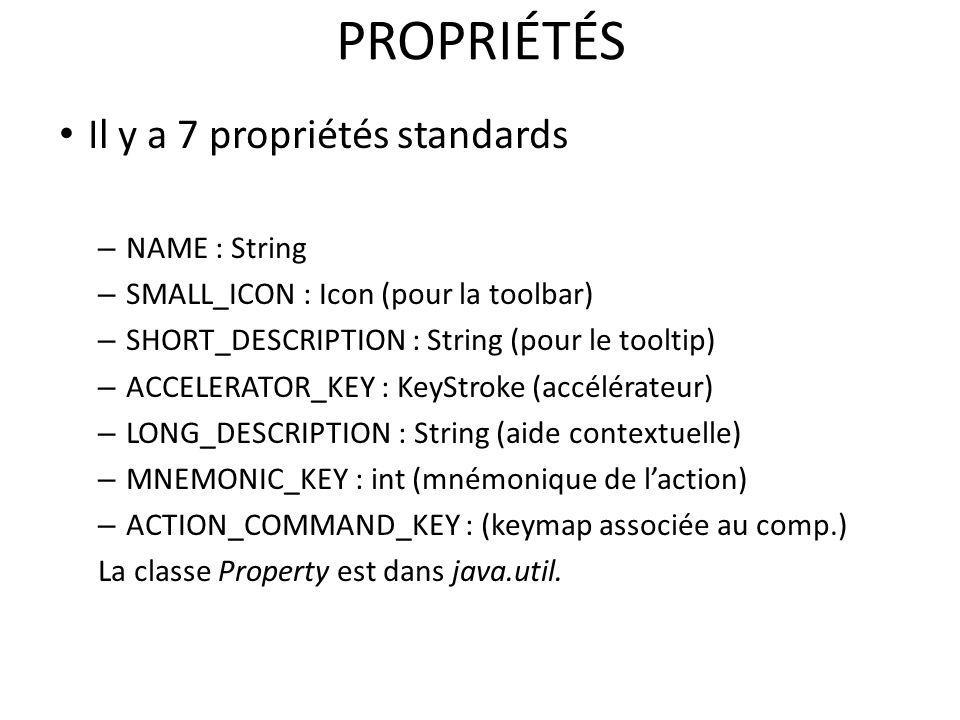 PROPRIÉTÉS Il y a 7 propriétés standards NAME : String