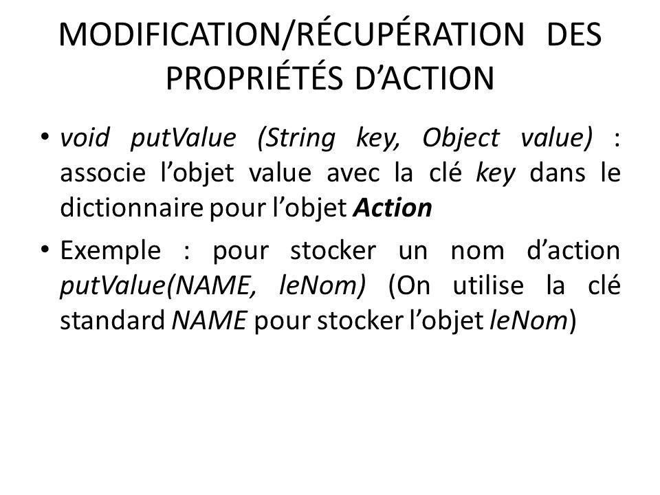 MODIFICATION/RÉCUPÉRATION DES PROPRIÉTÉS D'ACTION
