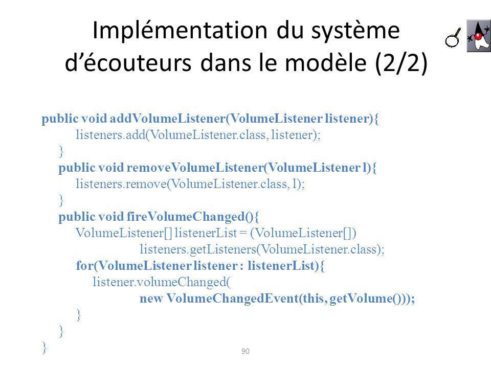 Implémentation du système d'écouteurs dans le modèle (2/2)