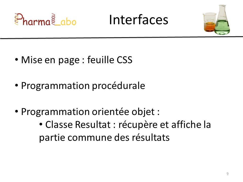 Interfaces Mise en page : feuille CSS Programmation procédurale