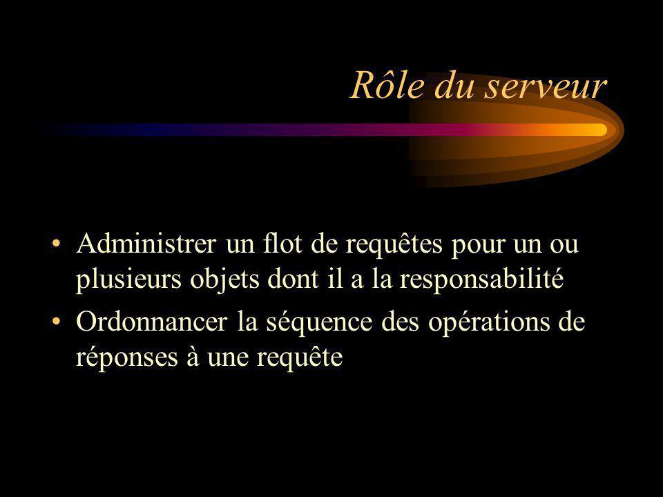 Rôle du serveur Administrer un flot de requêtes pour un ou plusieurs objets dont il a la responsabilité.