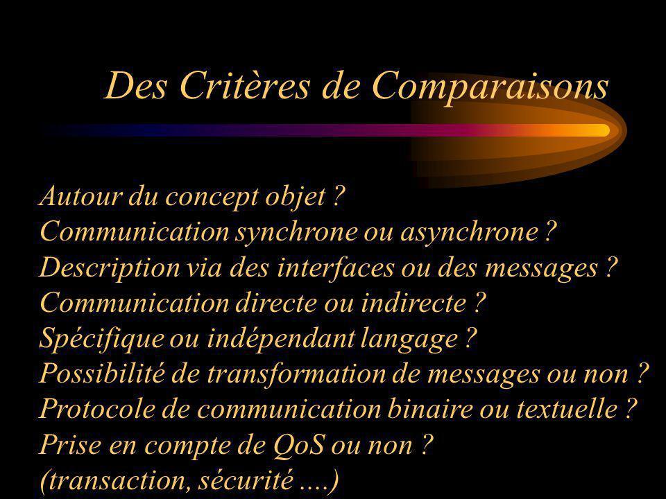 Des Critères de Comparaisons
