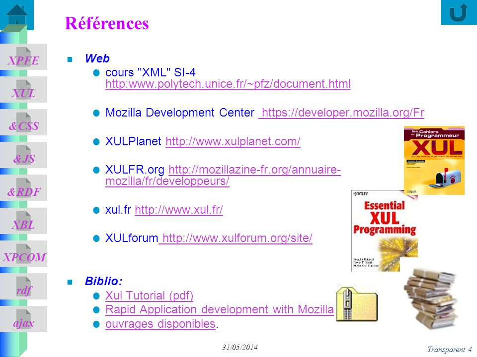 01/04/2017 Références. Web. cours XML SI-4 http:www.polytech.unice.fr/~pfz/document.html.