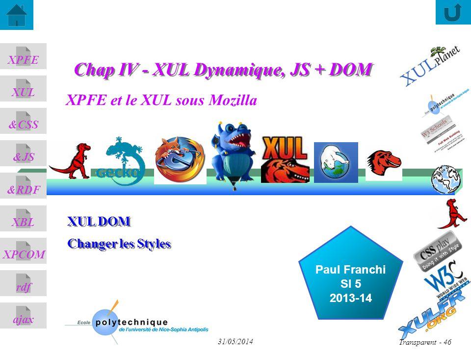 Chap IV - XUL Dynamique, JS + DOM