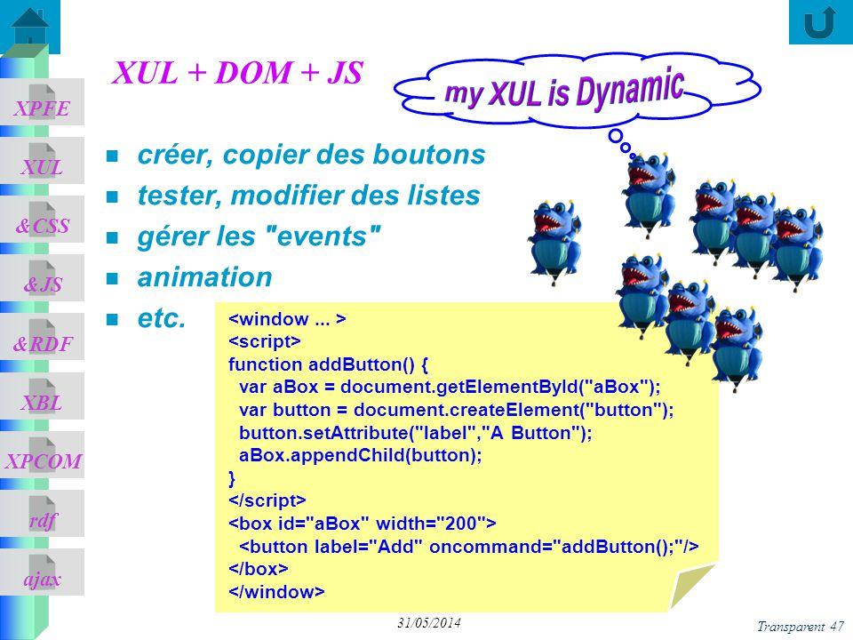 my XUL is Dynamic XUL + DOM + JS créer, copier des boutons