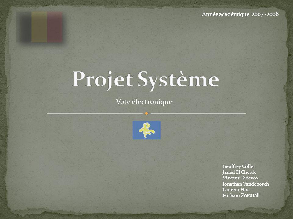 Projet Système Vote électronique Année académique 2007 -2008