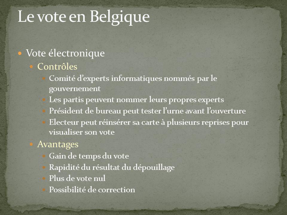 Le vote en Belgique Vote électronique Contrôles Avantages