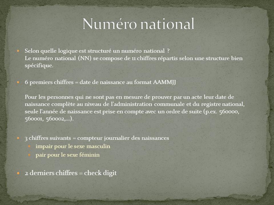 Numéro national 2 derniers chiffres = check digit