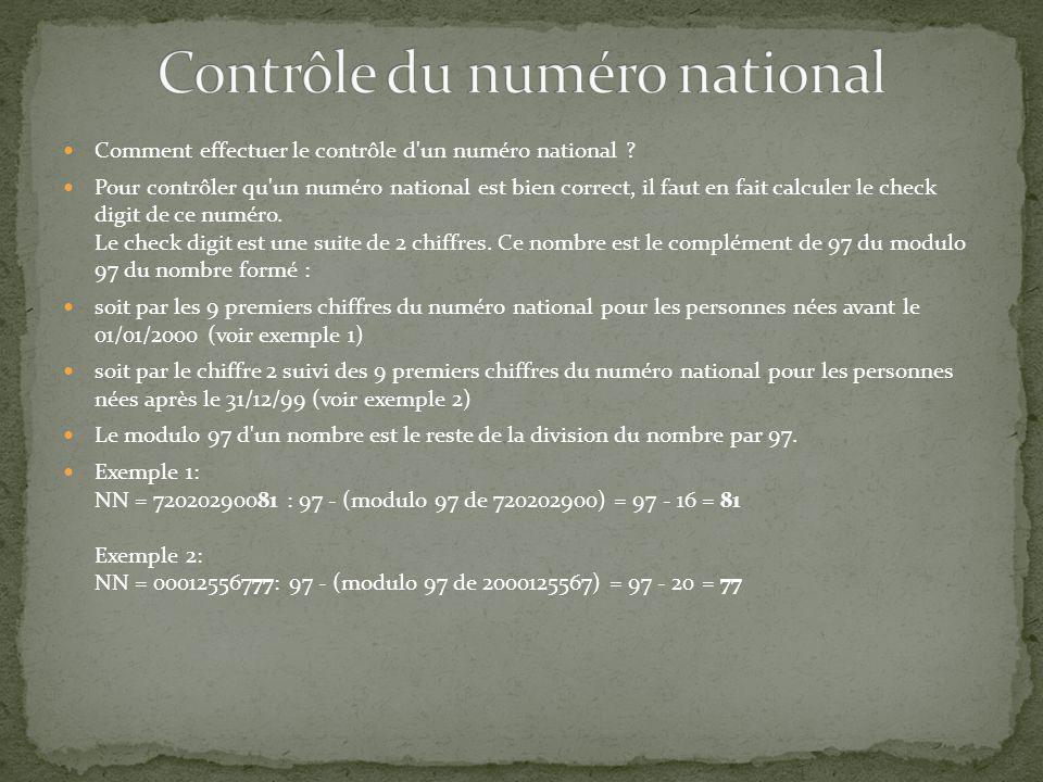 Contrôle du numéro national