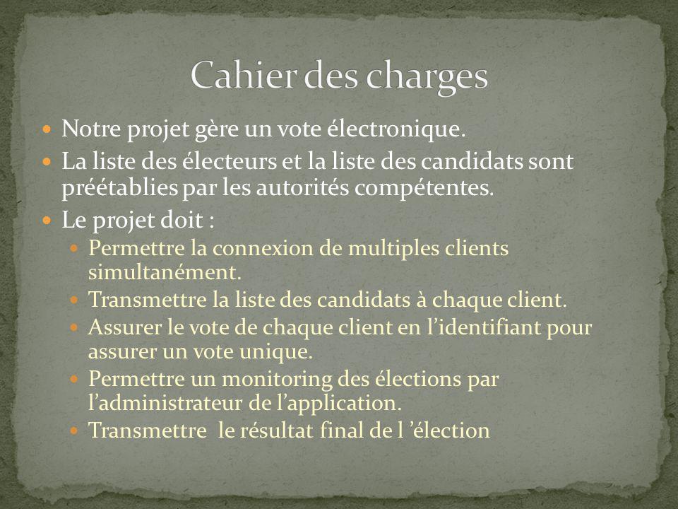 Cahier des charges Notre projet gère un vote électronique.