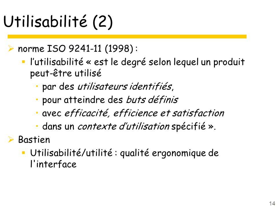 Utilisabilité (2) norme ISO 9241-11 (1998) :
