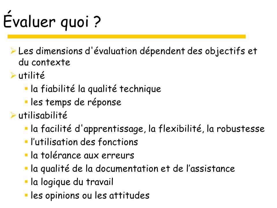 Évaluer quoi Les dimensions d évaluation dépendent des objectifs et du contexte. utilité. la fiabilité la qualité technique.