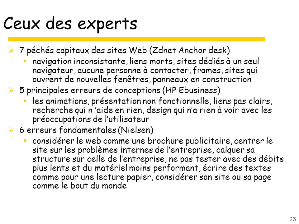 Ceux des experts 7 péchés capitaux des sites Web (Zdnet Anchor desk)